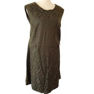 Kristin Miles 3X  Olive Green Brocade Dress
